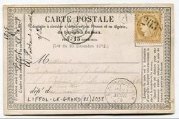 !!! CARTE PRECURSEUR CERES CACHET DE LIFFOL LE GRAND ( VOSGES ) 1875 - Precursor Cards