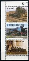 Sao Tome E Principe, 1987, Locomotives, Trains, Railroads, MNH Strip, Michel 1017-1019 - Sao Tome Et Principe
