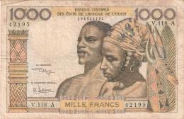 ETATS D'AFRIQUE De L'OUEST - COTE D'IVOIRE    1000 Francs   1959-65; ND   Sign.9   P. 103Aj - Côte D'Ivoire