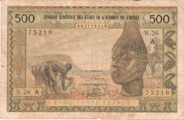 ETATS D'AFRIQUE De L'OUEST - COTE D'IVOIRE    500 Francs   1959-64; ND   Sign.6   P. 102Af - Côte D'Ivoire