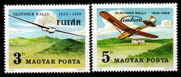 Hungary 1989 Ungarn Mi 4033-4034 Sailplanes / 60 Jahre Segelfliegerei In Ungarn - Vliegtuigen