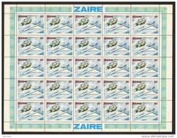 Zaire 0947** 50K Feuille / Bogen / Sheet De 25 MNH - Aviation - APOLLO XI 21-7-69 - Zaïre