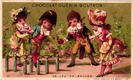 2 Cards C1900 Pub Chocolat GUERIN -BOUTRON Imp Vallet &Minot  HEROLD   BOWLING  Jeu De Boules  Litho - Bowling