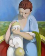 DIPINTO AD OLIO SU TELA. Madre Con Bambino. Oil Painting, Canvas. 50 X 60 Cm, 2009. Certificato Di Autenticità Incluso. - Huiles