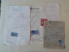 Lot De 4 Documents Affranchissement Timbres Fiscaux 1957 - Fiscaux