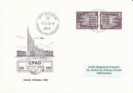 K 50L, Monument Historique, Cathédrale St-Pierre, Env. CPAG 1933-1983, Cercle études 1983, Obl. Bureau Philatélique 9.5 - Inverted (tête-bêche)