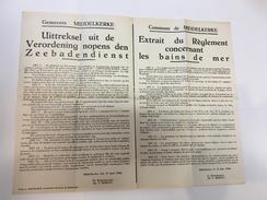 OUDE AFFICHE 1946 Middelkerke Uitreksel Uit De Verordening Nopens De Zeebadendienst - Affiches