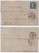 Lettre (LAC) Adressée De PONT SAINT ESPRIT (Gard) A LYON  GC 2954 Sur Yvert 60 - Cachets Au Verso  (95672) - Marcofilie (Brieven)