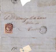 Año 1868 Edifil 98 Sello 50m  Isabel II Envuelta Matasellos Navia Oviedo - Lettres & Documents