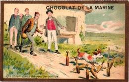 3 Cards C1900 Pub Chocolat De La Marine Imp Romanet Phares De La Bastille  Jeu De Quilles  Kittles  Kegelspel   Litho - Sports