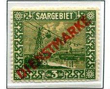 C5 Sarre Saar  Service  1I * Tâche Sur Le Petit Mât Sous Le A De Dienstmarke - Zone Française