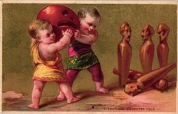 2 Cards C1900 Pub CREME Franco Russe Imp Pelletier Puzzle Bowling Jeu De Boules - Bowling