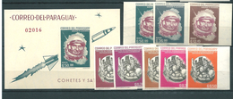 Paraguay, 1963, Space, U.Shirra, 8 Stamps+ Block Imperforated