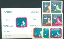 Paraguay, 1961, Allan Sheppard, Space 7 Stamps + Block Imperforated