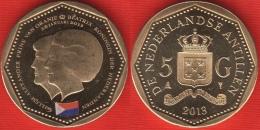 "Netherlands Antilles 5 Gulden 2013 ""Sint Maarten Flag"" UNC - Antillas Nerlandesas"