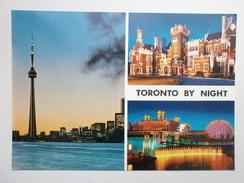 Postcard Toronto By Night Ontario Canada CN Tower Casa Loma Hotel By John Hinde My Ref B2509 - Toronto