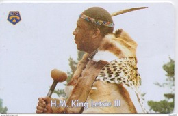 LESOTHO  PHONECARD (CHIP) KING LETSIE Iiii -LES 02-USED(bx1) - Lesotho