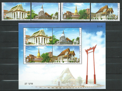 Thailand 2007 Thai Temples.S/S And Stamps.MNH - Thaïlande