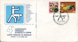 19216 Italia, Special Cover And Postmark Novara 1981 World Bowls Champ. Champ. Mondial Boules