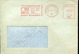 19220 Germany,red Meter(freistempel/ema/ Stuttgart 1974 WM74 World Football Champ  Germany, Circuled Cover - Coppa Del Mondo