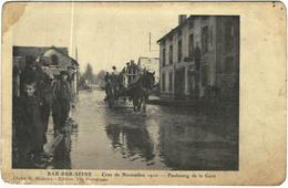 Carte Postale Ancienne De BAR SUR SEINE-crue De Novembre 1910-Faubourg De La Gare - Bar-sur-Seine