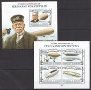 F21 BURUNDI TRANSPORTATION AVIATION FERDINAND VON ZEPPELIN 1KB+1BL MNH - Zeppelins