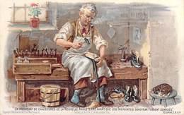 Carte Chromo Métier Cordonnier Un Fabricant De Chaussures  ENGLAND MANUFACTURER-GOODYEAR WELT SYSTEM Publicité PUB - Artisanat