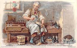 Carte Chromo Métier Cordonnier Un Fabricant De Chaussures  ENGLAND MANUFACTURER-GOODYEAR WELT SYSTEM Publicité PUB