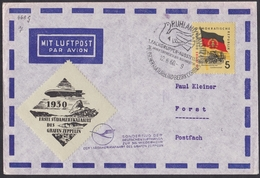 East Germany / GDR / DDR: Special Flight Cover, 1960, 1 Stamp, Lufthansa, Cinderella Graf Zeppelin 1930 (traces Of Use)
