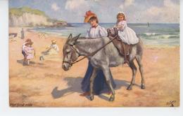 """ENFANTS - Jolie Carte Fantaisie Enfants Sur La Plage Avec âne """"Her First Ride"""" - Edit. RAPHAEL TUCK & Fils -  PC 9473 - Scènes & Paysages"""
