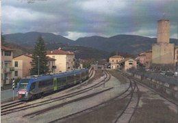 245 ATR 220.025 Swing Castelraimondo Camerino Macerata Railroad Train Italian Railways Treni Locomotiva Pesa Marche - Stazioni Con Treni