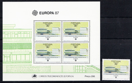MADEIRA  -PORTUGAL 1987.  EUROPA-CEPT 1987 YVERT   H. B. Nº 8 + SELLO SUELTO    SES490GRANDE - 1910-... República
