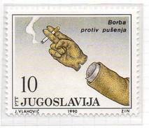 PIA  -  YUGOSLAVIA  -  1990  : Lotta Contro IL TABAGISMO -  (YV 2276 ) - Pollution