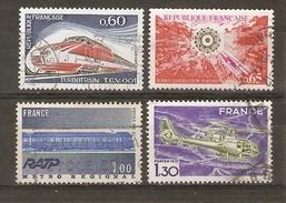 FRANCE - 1974/75 - Grandes Réalisations - Série Complète ° - RER - TGV - Hélicoptère Gazelle - Surrégénérateur Phenix - Oblitérés