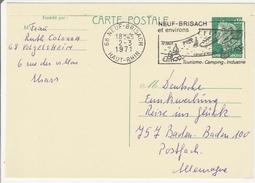 Neuf-Brisach 1971 - Flamme Canal D'Alsace Rhin Sur Carte Entier - Marcophilie (Lettres)
