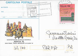 """ANNULLO A TARGHETTA """"MANIFESTAZIONE FILATELICA VASTOPHIL 92....."""" 1992 ORNAGHI 3381 SU INTERO MANTUA 92 - 6. 1946-.. Repubblica"""