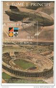 831 S. Tomè E Principe 1988 Ferdinand Von Zeppelin 750° Anniv. Fondazione Di Berlino Sheet Perforato Nuovo Preobliterato - Zeppelins