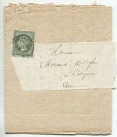 N°19 Seul Sur Imprimé Sous Bande De Poitiers Pour Catignac (var) - 1862 Napoleon III