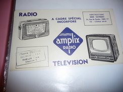 BUVARD Publicitaire  BLOTTING PAPER  RADIO / TELEVISION / AMPLIX RADIO / 34 Rue De Flandre PARIS 19è - Blotters