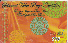 BRUNEI - Selamat Hari Raya Aidilfitri, DST Recharge Card $10, Exp.date 15/09/08, Used
