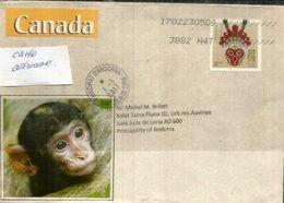 Année Du Singe, Sur Lettre CANADA Adressée ANDORRA, Avec Timbre à Date Arrivée - Nouvel An Chinois