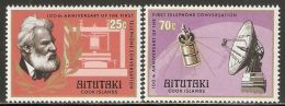 Aitutaki 1977 Mi# 247-248 ** MNH - Cent. Of First Telephone Call By Alexander Graham Bell / Space