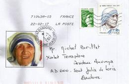 Hommage Mère Teresa, FRANCE,  Sur Lettre Adressée ANDORRA, Avec Timbre à Date Arrivée