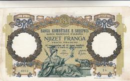 20 Franga Albania. Occupazione Italiana. Piccola Mancanza Angolo Alto A Dx - Albania