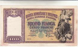 100 Franga Albania. Occupazione Italiana. Qualche Macchia Ai Lati Ma Integra - Albania