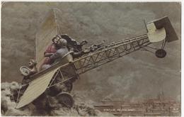 FANTAISIE MILITARIA COUPLE SOLDAT AVIATEUR GUERRE 14/18 Illustrateur MASTROIANNI Idylle Aérienne Photomontage Aéroplane - War 1914-18