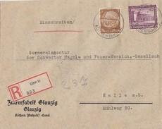 DR R-Brief Mif Minr.513,642 Glanzig 4.6.37 Gel. Nach Halle - Briefe U. Dokumente