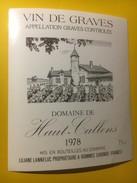 3485 - Domaine De Haut-Callens  1978 Graves - Bordeaux