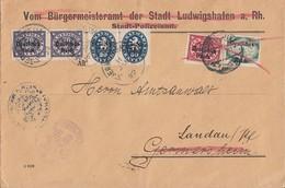 DR Brief Dienst Doppelverwendung Mif Minr.43,47 Ludwigshafen, 2x 38, 2x 42 Germersheim - Dienstpost