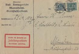 DR Brief Zustellurkunde Mif Minr.D23,D31 Mannheim 25.10.20 Gel. Nach München Geprüft - Dienstpost